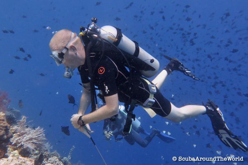 ScubaAroundTheWorld - Scuba diving Bunaken Indonesia - scuba diver with Zeagle Express Tech BCD